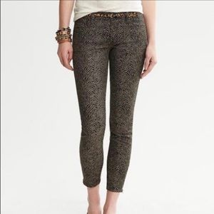 Low rise skinny cropped textured design pants
